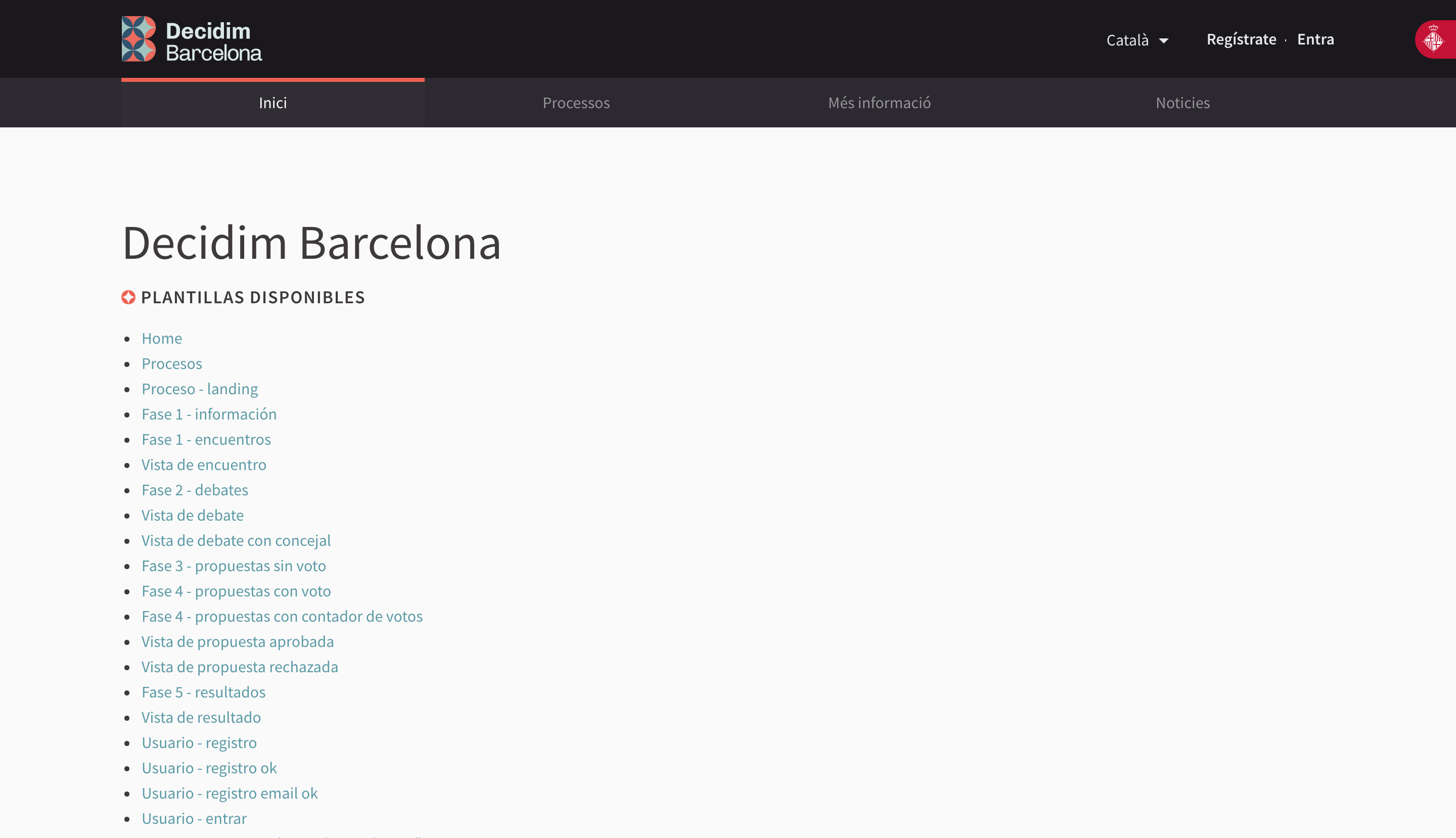 Decidim Barcelona's list of pages