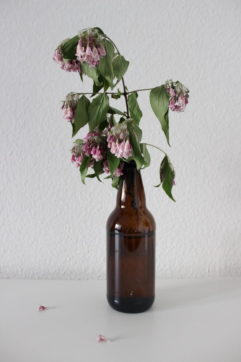 Verdorrte Blumen in einer geupcycelten Bierflasche als Vase