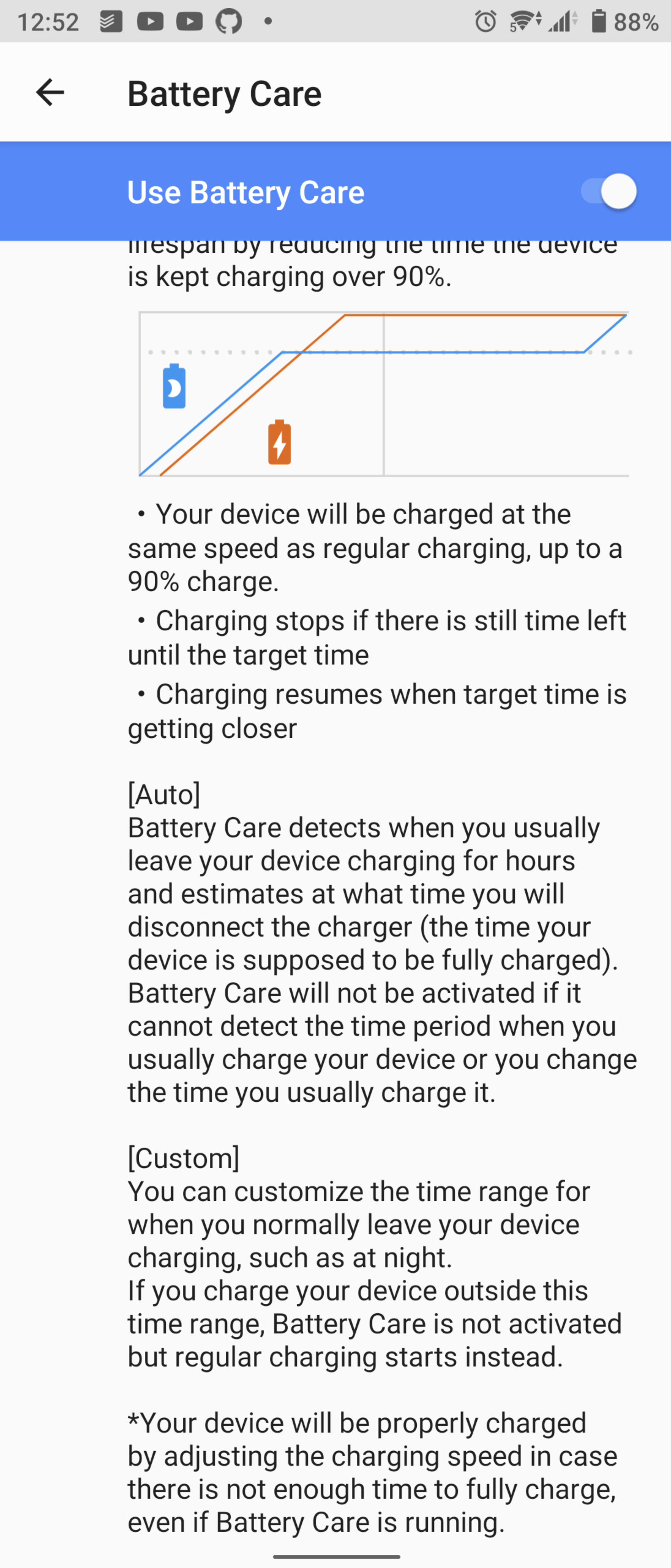Explanation of what battery care does