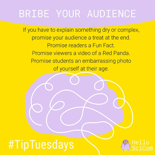 Bride Your Audience. If you have to explain something dry or complex, promise your audience a treat at the end. Promise readers a Fun Fact, a video of a Red Panda, or an embarrassing photo of yourself at their age.