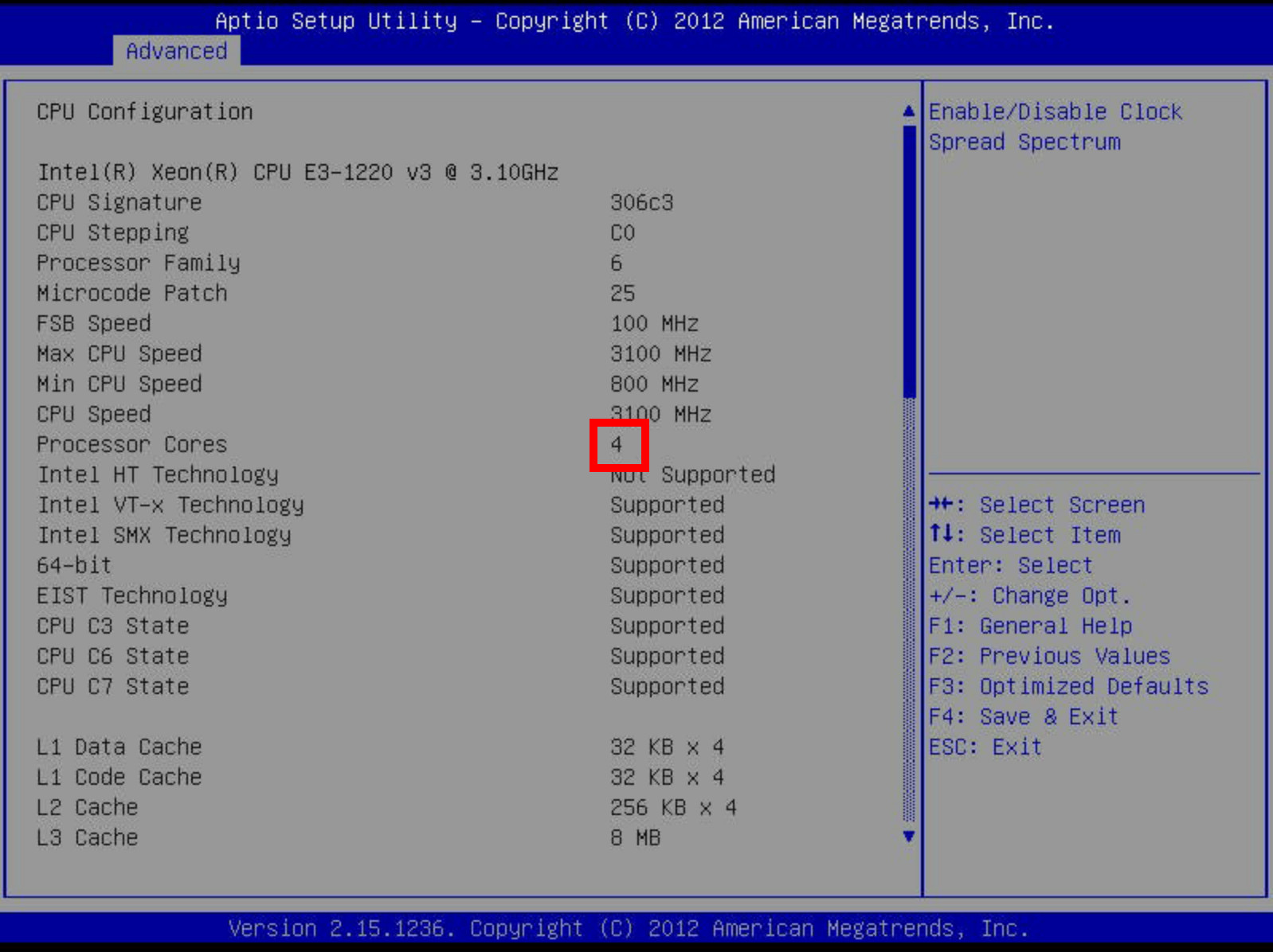 Screenshot of the Supermicro BIOS, showing that the CPU is operating normally.