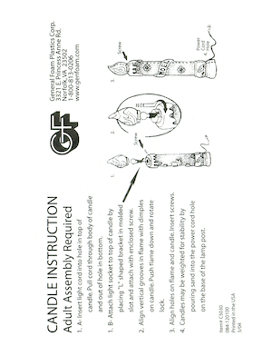 General Foam Plastics Candle #C5030 Instruction Manual.pdf preview
