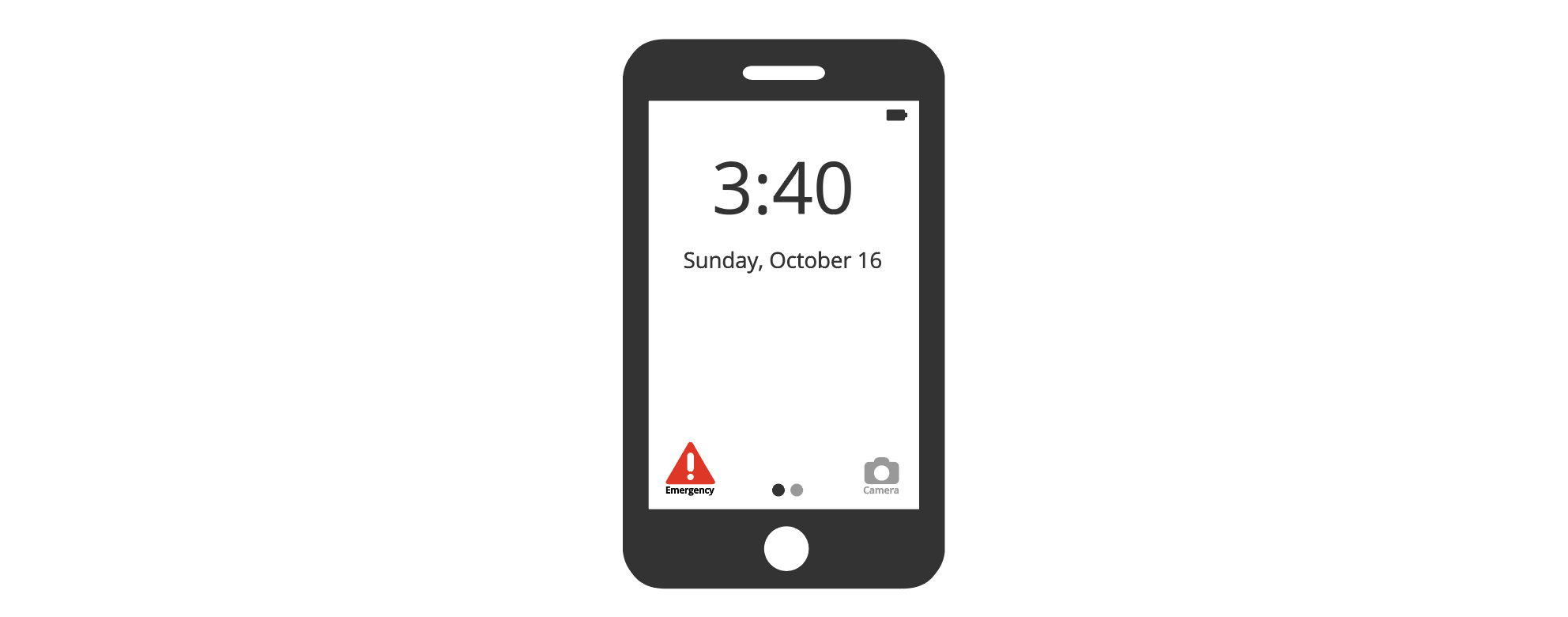 Illustration of an iPhone with an emergency symbol in home screen view