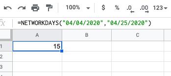 NETWORKDAYS Excel formula