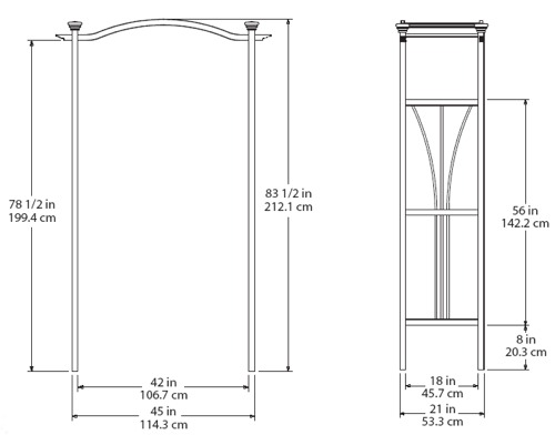 London Arbor wireframe dimensions