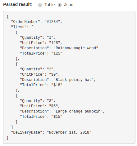 With the new JSON option, you can see the raw parsed data structure