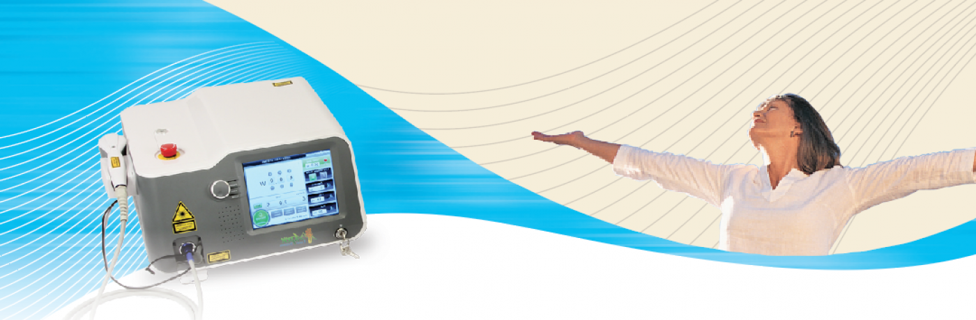 Laser header with image of device and a happy woman