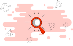 Magnifying glass on a pale red background with abstract shapes surrounding