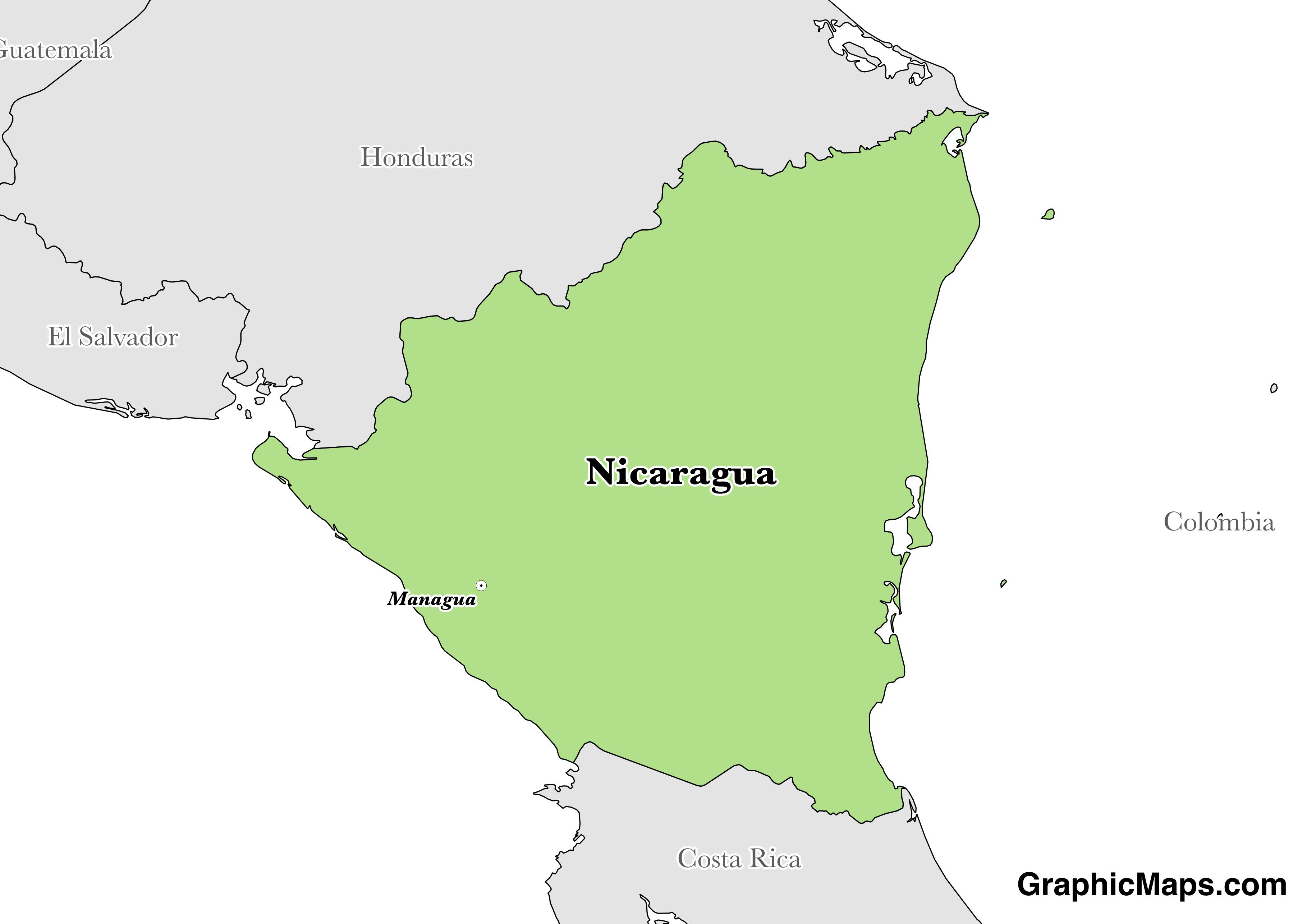 Map showing the location of Nicaragua