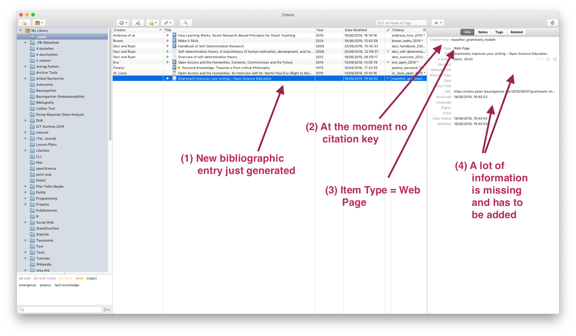 Sreenshot of the Zotero bilbiograpy with the new downloaed biobliographic entry.
