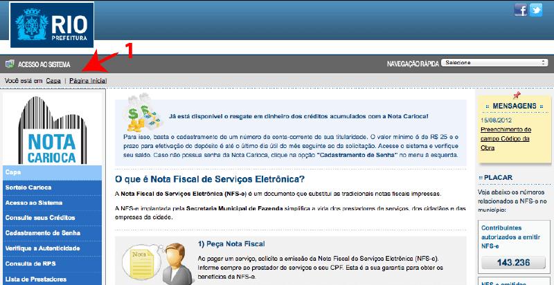 Passo 1 de como emitir nota fiscal carioca no simples nacional