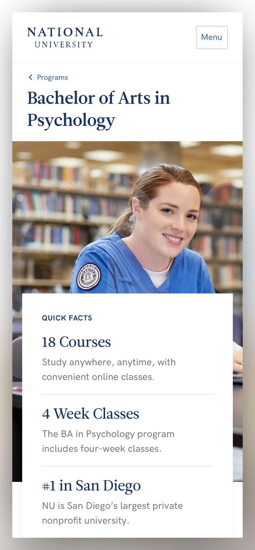screenshot of a National University single program page at phone size