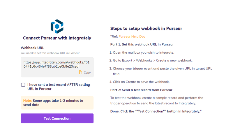 integrately connection with Parseur
