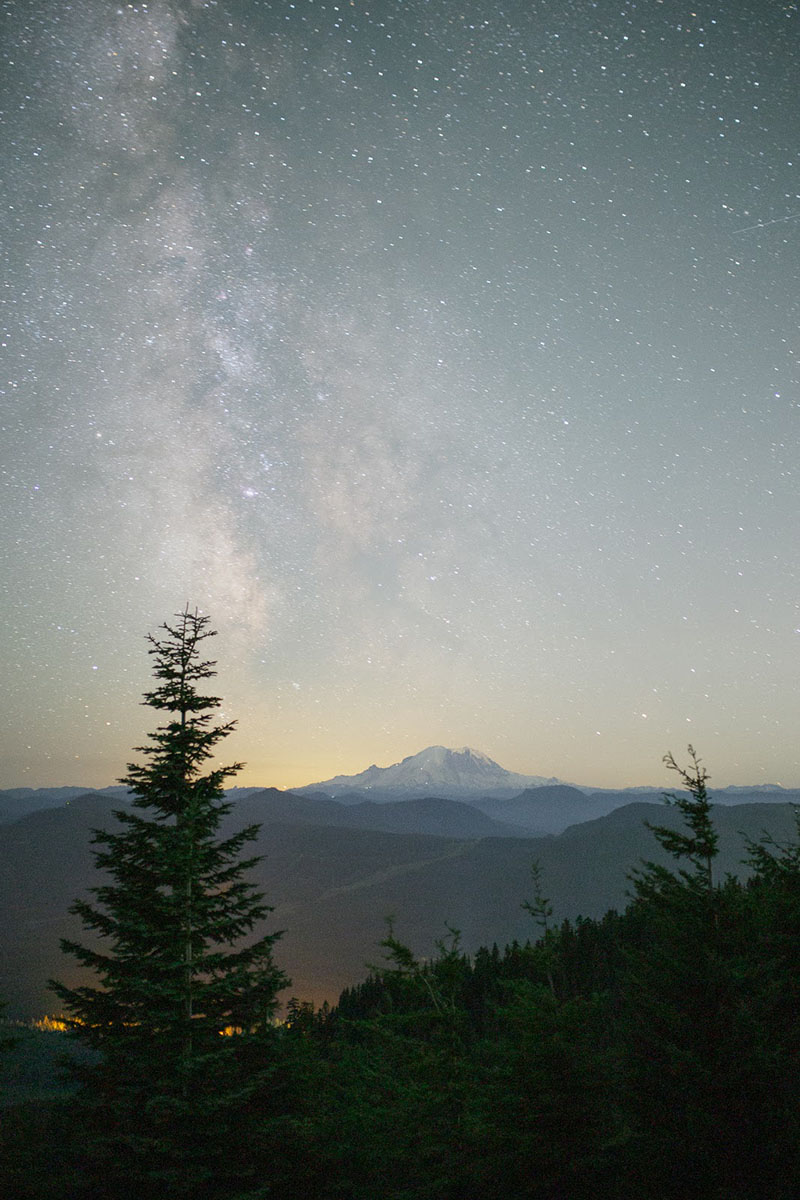 Stars and a view of Mt. Rainier while camping at night