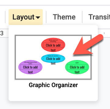Screenshot of the layout menu with the Graphic Organizer layout highlighted