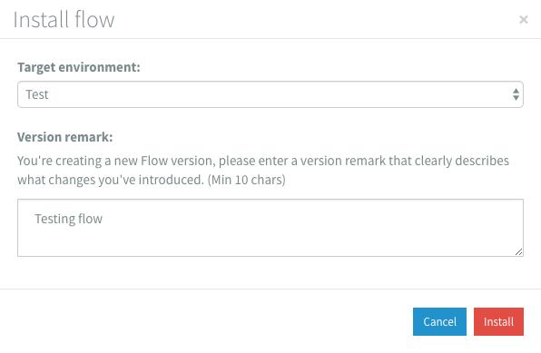 Flow designer install modal