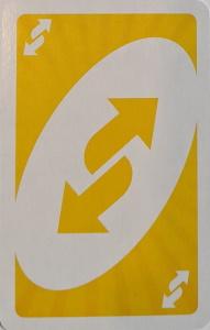 Uno Dare Yellow Uno Reverse Card