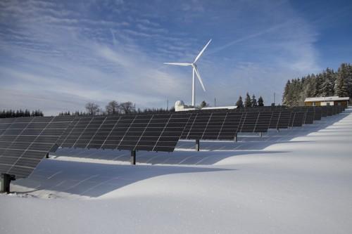 Solar farm in snow