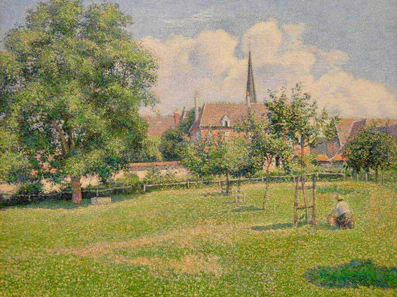 Pissarro's 1886 work House of the Deaf Woman and Belfry at Eragny.