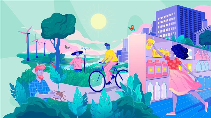 An illustration of different sustainable scenarios