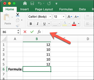 A Microsoft Excel worksheet with an arrow pointing to the formula bar