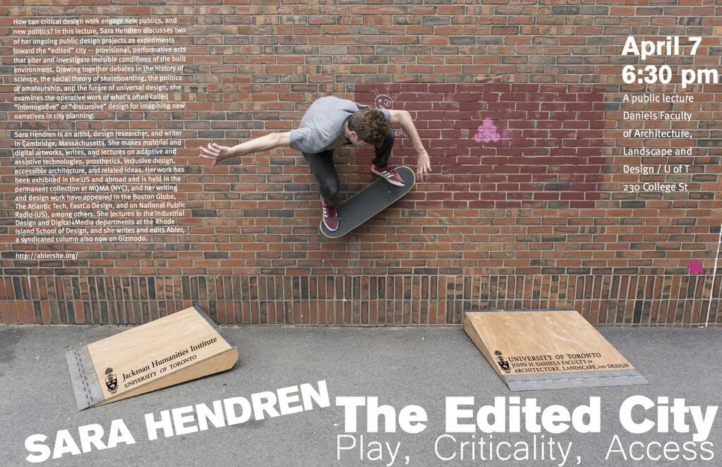 A skateboarder uses two low profile wooden ramps to travel across a vertical wall. Text from the poster is included in the post under the photo.