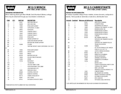Replacement Parts List