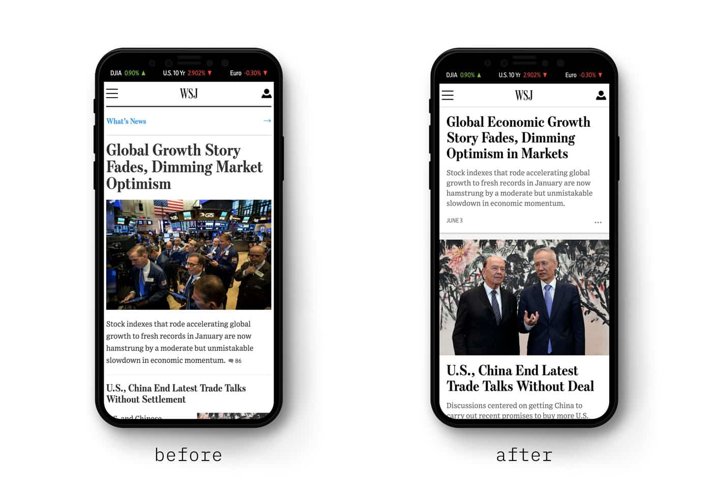 The WSJ.com mobile homepage before and after the re-design