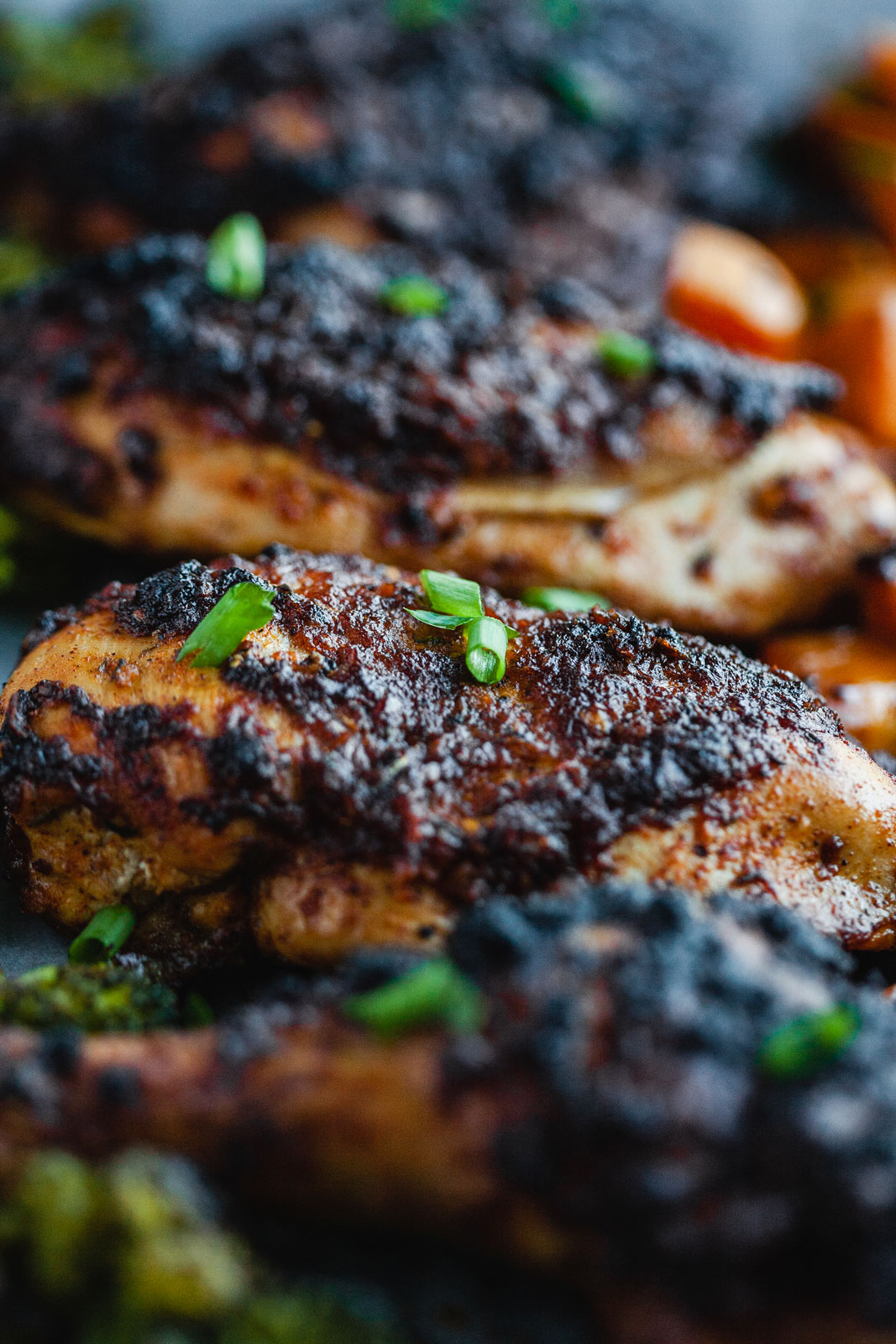 Spicy Blackened Chicken Legs With Sweet Potatoes and Broccoli