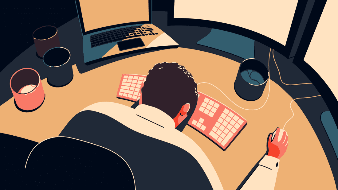 Inspiring digital art illustration of exhausted man in front of a computer, with his head down on a desk with subtle colors including coral and blush.