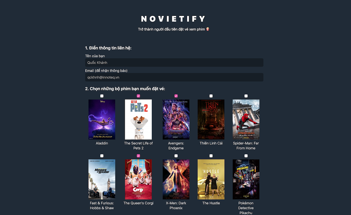 novietify screenshot