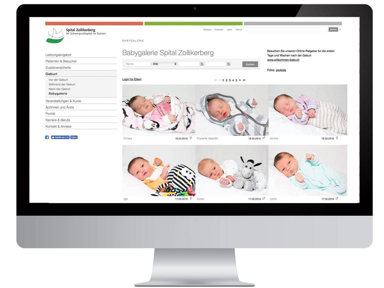 Babygalerie CMS Plug-In Screenshot