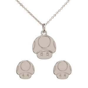 Mario Mushroom Necklace and Earrings Set