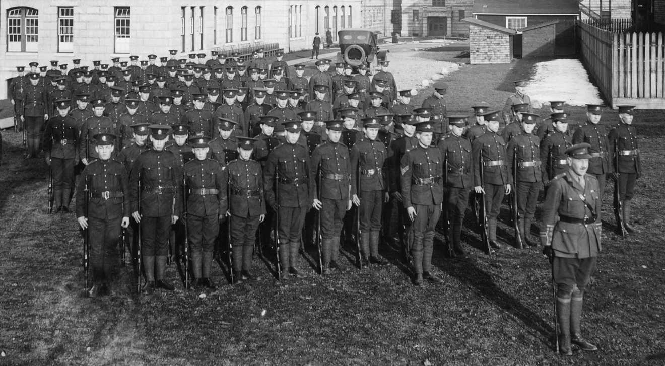UBC students taking part in officer training in 1916 during World War I