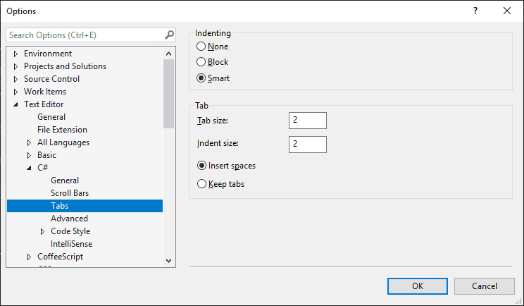 change tab indent size to 2 spaces for C# language