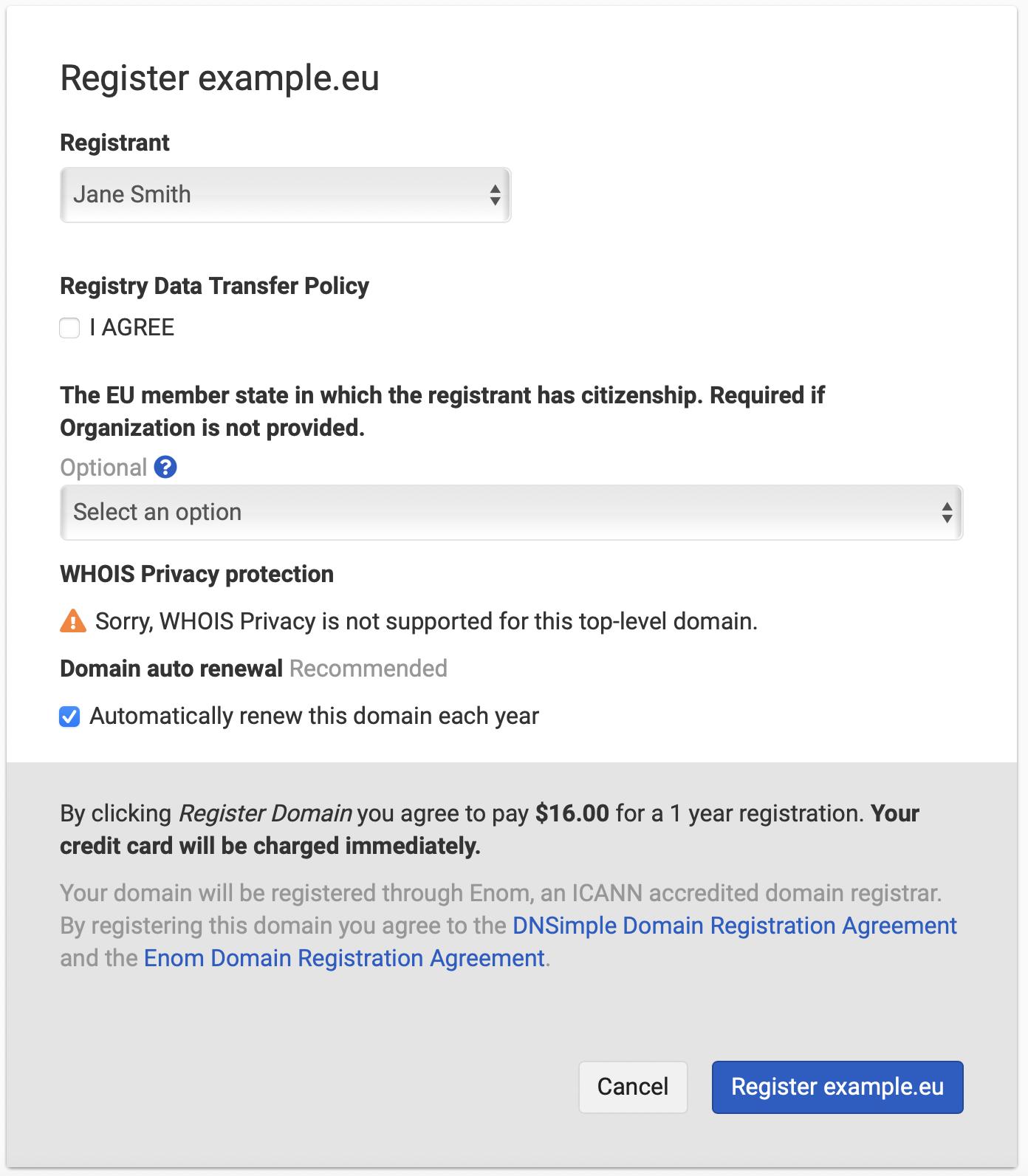 Register .EU domain