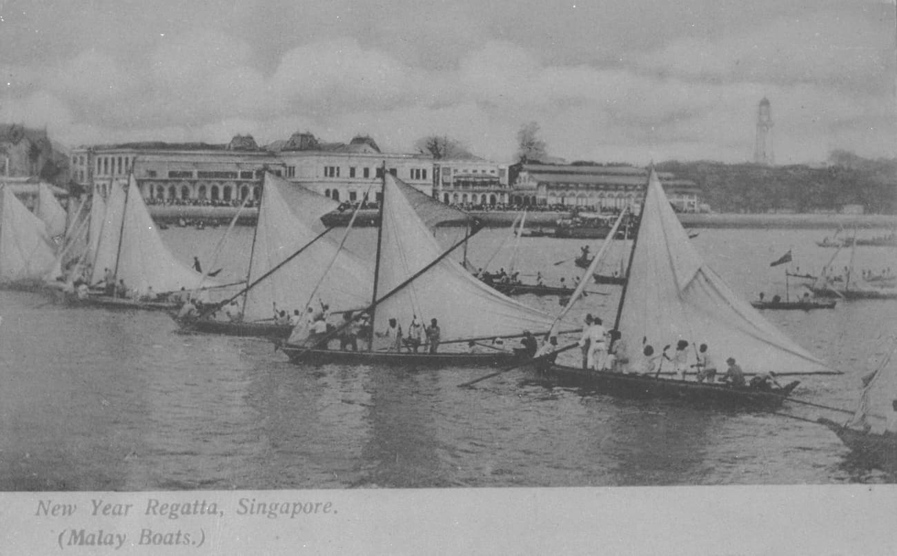 View of Malay Boats at the New Year Regatta, 1905