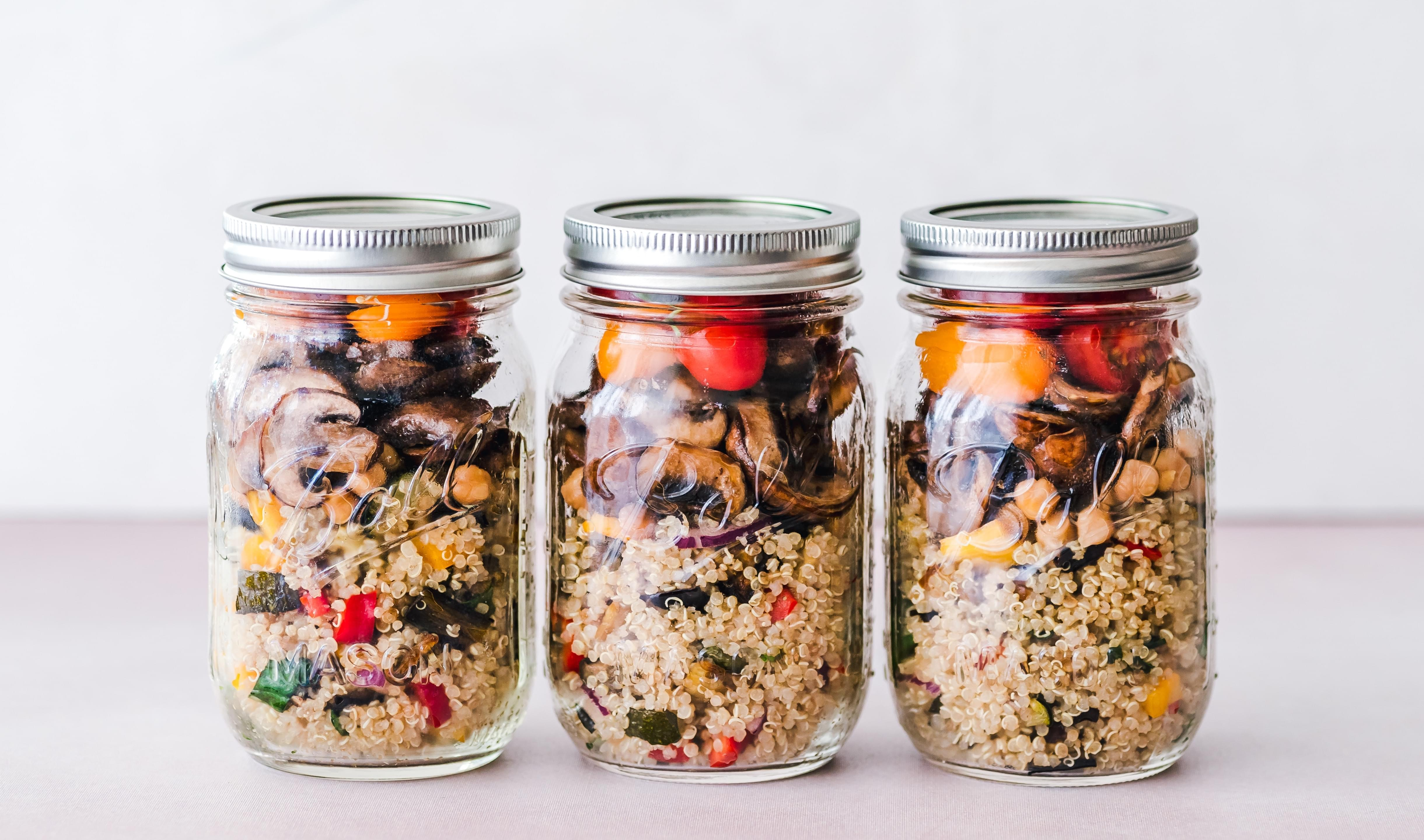 Minimal-waste mason jars with couscous salad