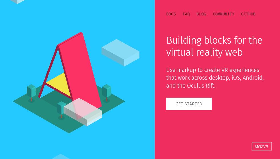 Screenshot of the the aframe.io homepage