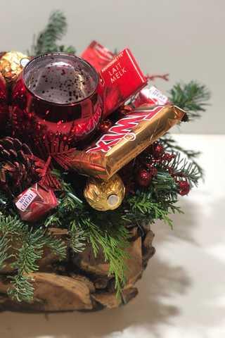 Hoge xxl rode houten kerststuk