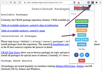 Screenshot displays webpage 'Contributed Packages' of the R-project with opened browser plugin of the Wayback Machine.