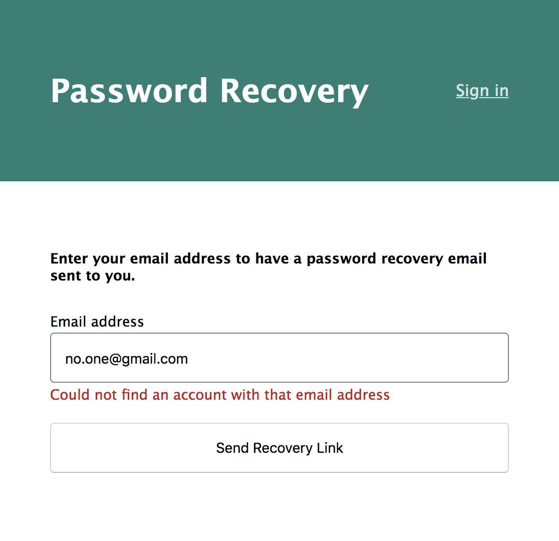 Password Recovery Invalid Email