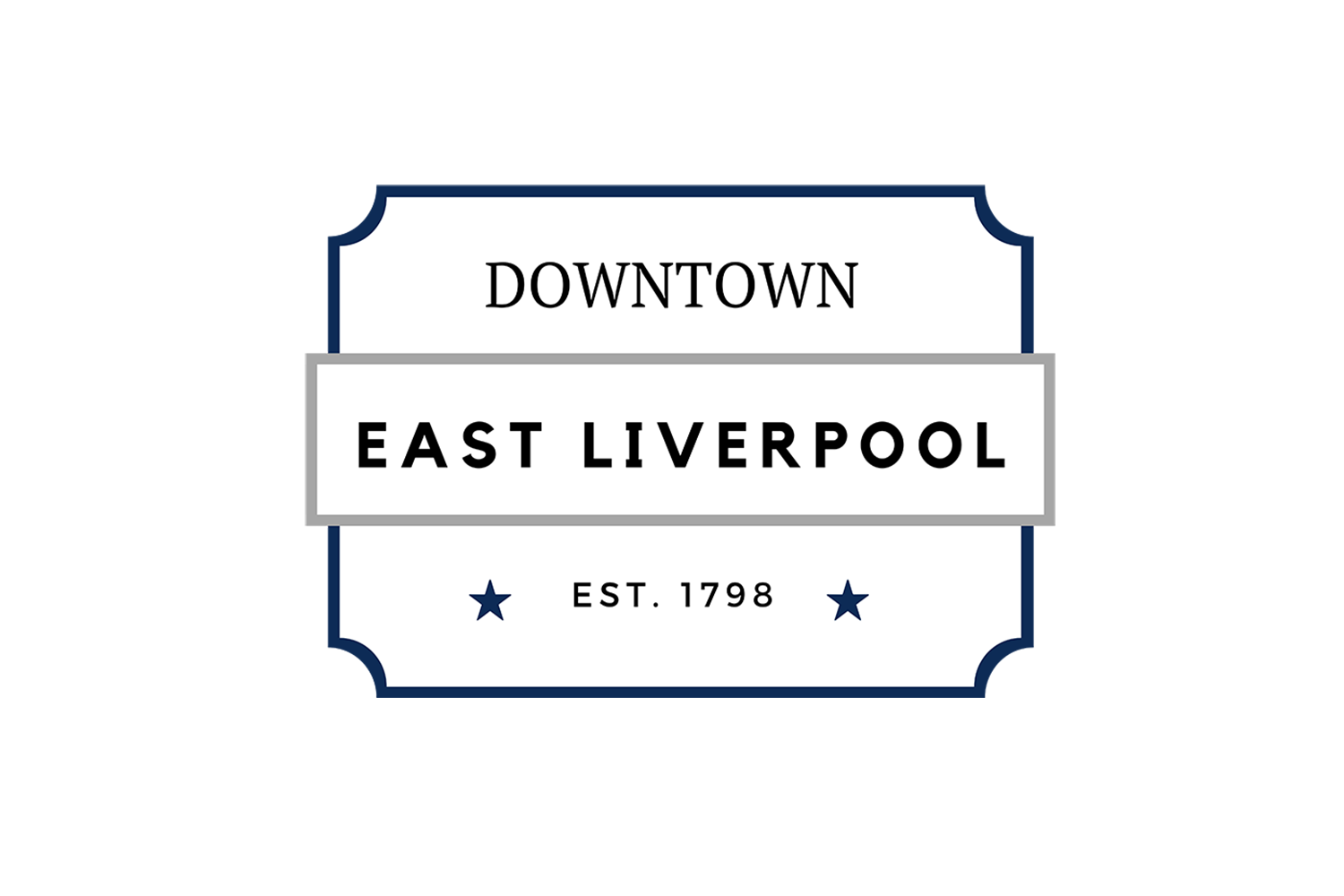 The official logo of Downtown East Liverpool by the ELCPR, in East Liverpool Ohio.