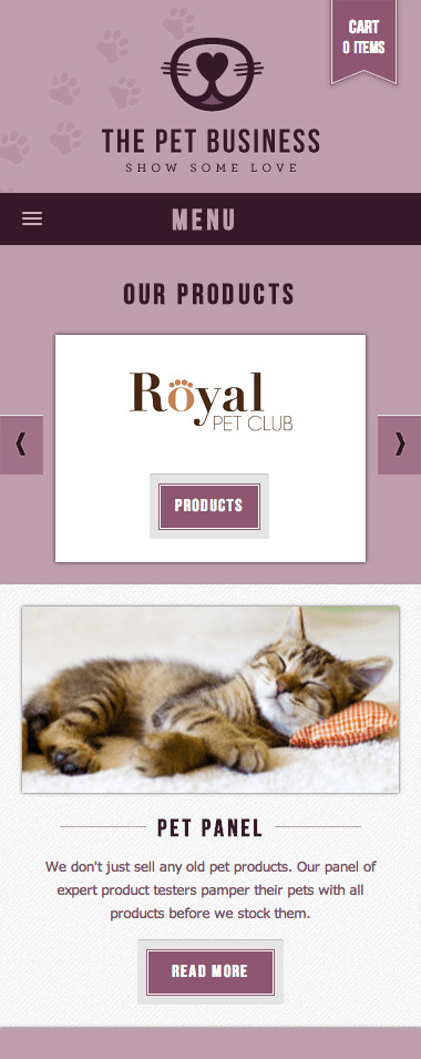 The Pet Business home page mobile view.