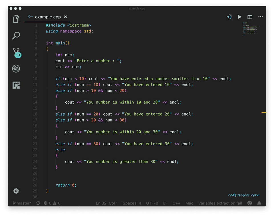 C++ if else ladder program