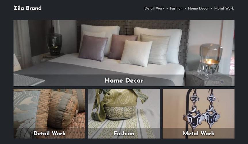 Screenshot of Zila Brand's website, zilabrand.com