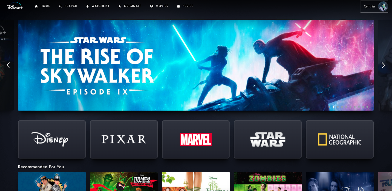 Screenshot of the Disney+ landing page, featuring selections for Disney, Pixar, Marvel, Star Wars, and National Geographic