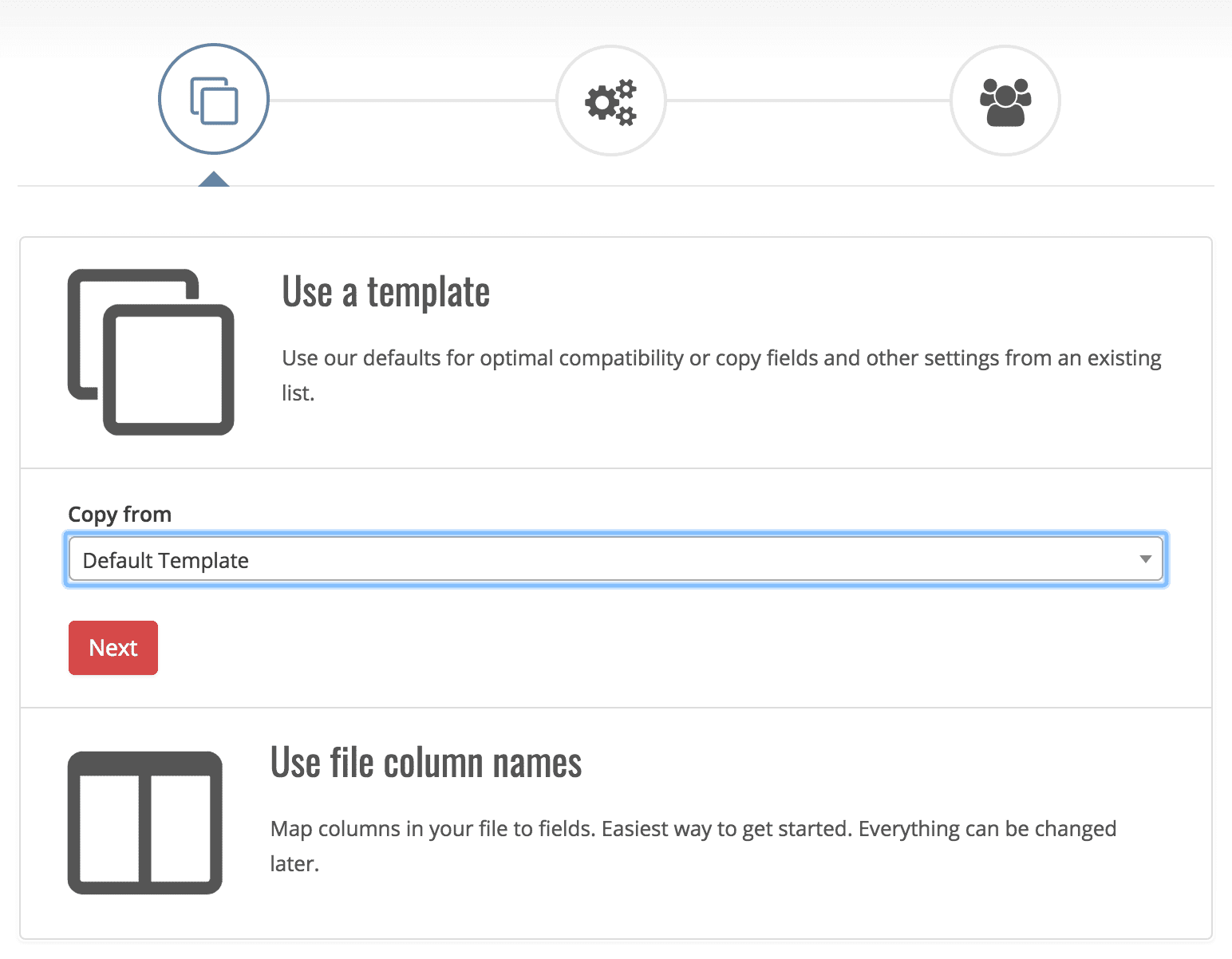 Screenshot from the import wizard template selection in Myphoner