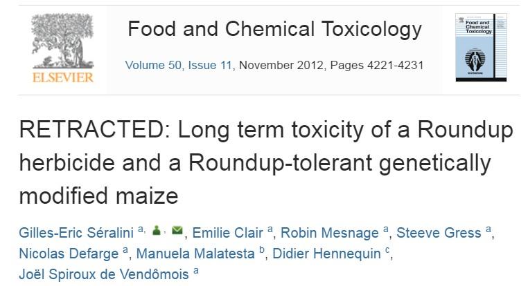 """1. kép: Séralini et al. (2012) tanulmánya visszavonva (RETRACTED). A cikk továbbra is elérhető, viszont egy vízjelet raktak a szövegbe """"visszavonva"""" szöveggel."""