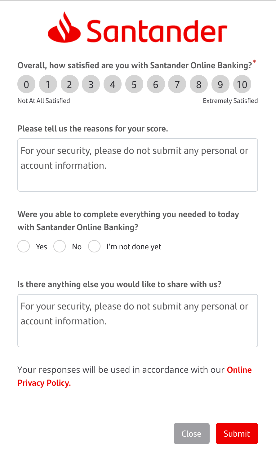Closed-ended and open-ended customer service feedback survey from Santander Bank